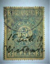 Altdeutschland Preussen  3 Reichsmark Revenue Steuer Fiskal Tax Marken verwendet