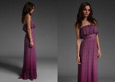NWT GYPSY 05 Fiona Floral Tube Ruffle Silk Maxi Dress WINE $242 M