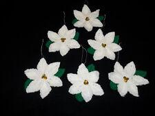 "White Poinsettia 4"" Christmas Tree Ornaments or Topper Crochet Handmade Lot of 6"