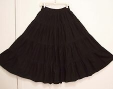 4 Tiered BLACK Peasant Western 100% COTTON Broomstick Skirt M