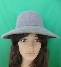 GREY FELT WOOL HAT BOW VINTAGE GATSBY