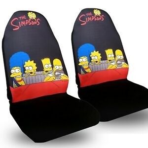 Simpsons Family Front Car Seat Cover 2pc Set Homer Bart Lisa Auto Accessories