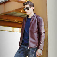 Mens Leather Motorcycle Coat Overcoat Leisure Biker Jacket Slim Fit Outwear Tops