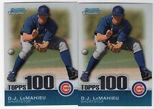 2010 Bowman Chrome TPC72 D.J. LeMahieu Topps 100 Prospects (2 Card Lot) /999