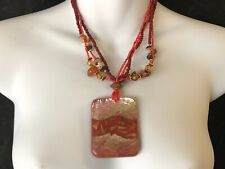 CAPIZ PRETTY SQUARE PINK PEARL FINISH DISC FEATURE BEAD BOHO STATEMENT NECKLACE