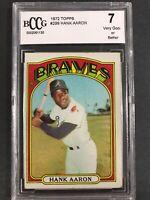 1972 Topps Hank Aaron #299 Atlanta Braves BCCG 7 VG-EX PSA
