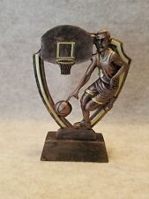 Male Basketball Shield Shaped Resin Trophy - with a free personalized plaque