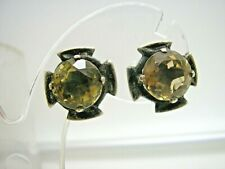 Antique  Silver Real Scottish Cairngorm Citrine Clip Earrings