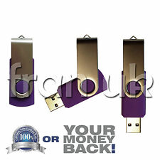 32 Gb Purple Giratorio Usb 2.0 Flash Drive Memory Stick Pen dispositivo de almacenamiento en disco del Reino Unido