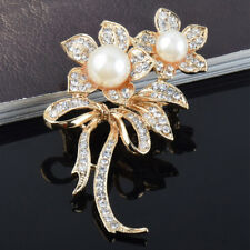 Classic Rhinestone Crystal Bouquet Flower Pearl Brooch Pin Fashion Jewelry Gift