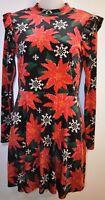 Xhilaration S Dress Christmas Holiday Red Black Velvet Snowflake Poinsettia