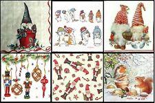 6 Different Cocktail Paper Napkins (25cm x 25cm) for Decoupage Christmas Mix 1/2