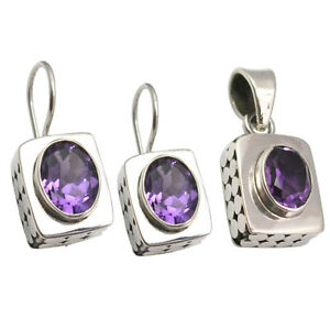 Free Shipping Jewelry Set 925 Sterling Silver AMETHYST BOX Earrings & Pendant