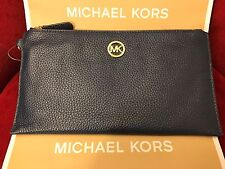 NWT MICHAEL KORS PEBBLED LEATHER FULTON LARGE ZIP CLUTCH/WRISTLET - NAVY