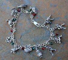 Twelve 12 Days of Christmas Charm Bracelet- pewter, sterling silver, red & green