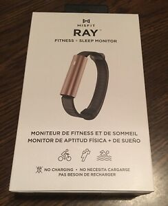 NEW - Misfit Ray - Fitness + Sleep Tracker with Black Sport Band - Rose Gold