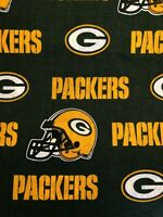 """Green Bay Packers Green 100% Cotton Fabric - Sold By 1/2 Yard 18"""" x 58"""""""
