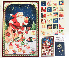 CHRISTMAS SANTA FABRIC ADVENT CALENDER PANEL METALLIC PRINT