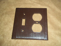 Vintage Combo Switch/Outlet Cover Ribbed Brown Color  USA