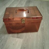 Vtg Wil-Hold Wilson Plastic Amber Sewing Box 2 Trays Tin/Buttons Thread Notions