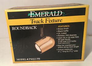 EMERALD | Brass ROUNDBACK TRACK FIXTURE LIGHT  P5022 PB New Old Stock In Box
