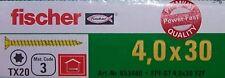 4,0 x 30 mm TX20 Senkkopf gelb verz. Power Fast Schrauben FISCHER Kleinmengen