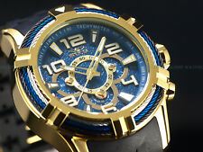 New Invicta Mens 50mm Bolt Spider Triple Cable Bezel Chrono 18K Gold IP SS Watch
