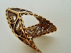 ANTIQUE MEXICAN 14KT GOLD FILAGREE AND ROPE TWIST LONG RING SZ 6