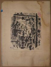 Dessin Ancien Encre Scène Théâtre Comédien JEAN CLUSEAU-LANAUVE 1940