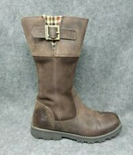 123a5fc088382 Timberland Womens Riding Boots Leather Side Zip Buckle Top Brown Size 6