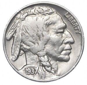 FULL HORN - High Grade - TOUGH - 1937-D Buffalo Nickel - Sharp Coin! *661