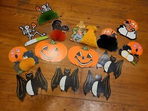 Vintage Halloween Skeletons Honeycombe Decorations Beistle & more