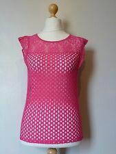 Next Lace Frill Cap Sleeve Top Size 6 BNWT RRP £25.99 Pink Uk Freepost