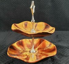 More details for vintage two tier cake stand blue mountain pottery canada harvest gold /stamped