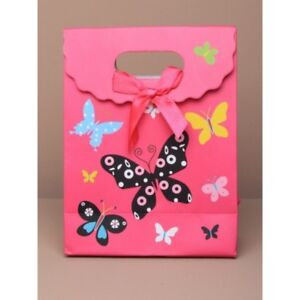 NEW 12 Pink butterfly touch fastening top gift box bag favour 12x16x6cm