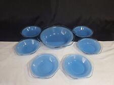 Vintage Phoenix Pyrex Pale Blue Glass 6 Sundae Dish Set & Serving Dish