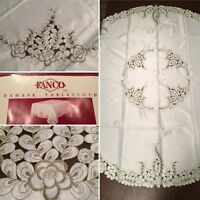 """New FANCO 68"""" Round 100% Satin Damask Tablecloth Ivory White & Green/Gold Floral"""
