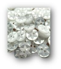 50 WHITE STAR BABY BUTTONS, size 22 (14mm dia) 2 hole