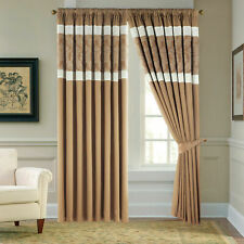 Faux Silk Jacquard Pencil Pleat Tape Top fully Lined Ready Made Curtains Panel