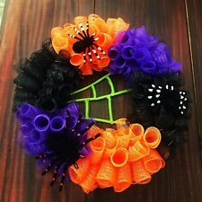 18in. X 18in Halloween Wreath. Spider Decor. Black, Purple, and Orange Material