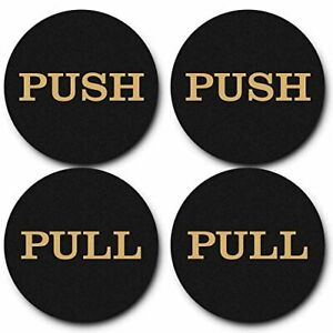 "2"" Round Push Pull Door Signs (Black-Gold) - 2 sets (4pcs)"