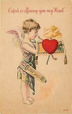 c1910 Chromographed Valentine Postcard 6700 Cupid Offers you my Heart, Unposted