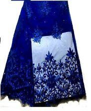 """Royal Blue Embroidered Organza Mesh Lace WT Stones pearls. 52"""" By The Yard"""