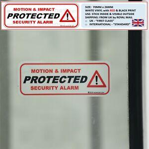 2 x PROTECTED: WINDOW STICKERS MOTION & IMPACT BURGLAR ALARM THEFT WARNING