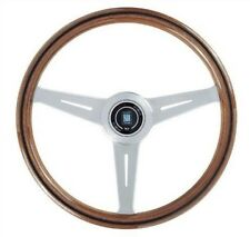 NARDI CLASSIC WOOD GRAIN STEERING WHEEL SATIN SPOKES CLASSIC HORN BUTTON 390MM