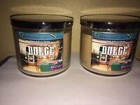 2NEW Bath & Body Works Dolce Italian 3 wick 14.5 oz Candle caramel cream vanilla