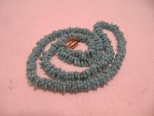 Vintage Turquoise Flower Shape Art Deco Bead Necklace Gold Colour Catch