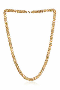 Classy Dubai Handmade Unisex Lotus Chain Necklace In 916 Stamped 22K Yellow Gold