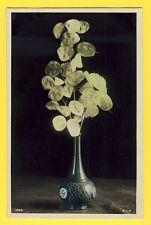 cpa sur Papier glacé ART DÉCO Fleurs VASE BOUQUET de LUNAIRE MONNAIE du PAPE