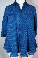 Catherine Malandrino Blue Textured Rayon Silk Casual Career Swing Top Tunic 4